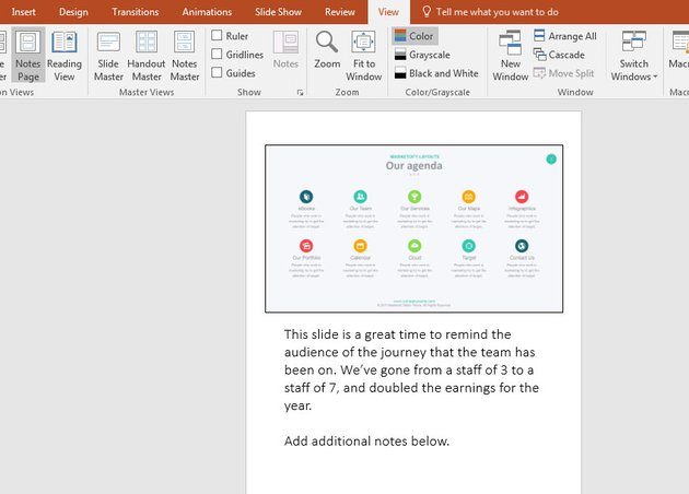Notes Page View in PowerPoint