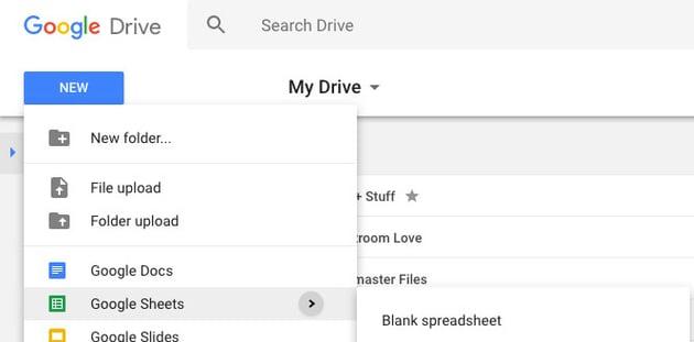 New Google Sheet