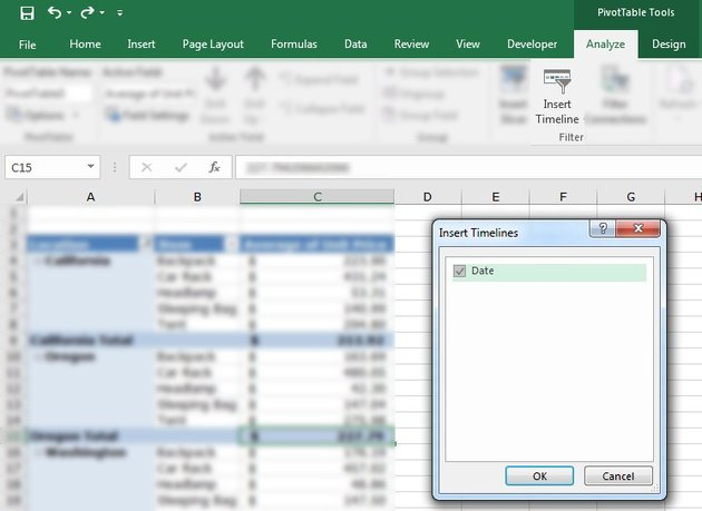 Insert Timeline into advanced Excel PivotTable