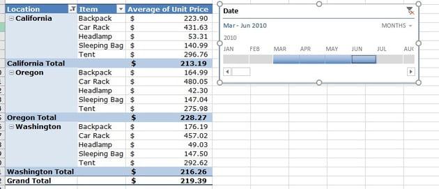 Adjust Timeline in Excel PivotTable