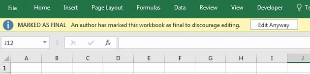 Excel Workbook Marked as Final