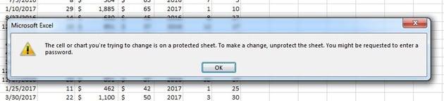 Error message in Excel