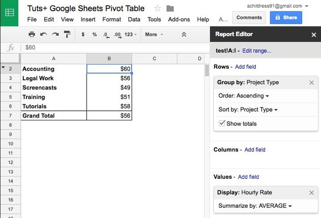 Sheets hourly billing by client Google Sheets pivot table