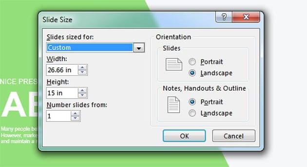 Slide size menu
