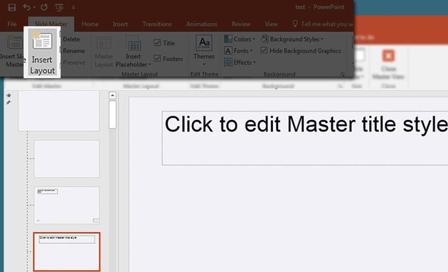 Insert Layout in PowerPoint presentation