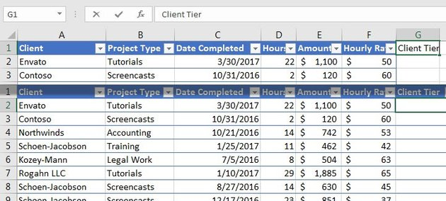 Expand columns in Excel Tables