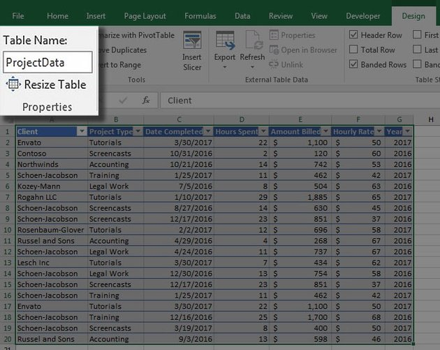Table name in MS Excel