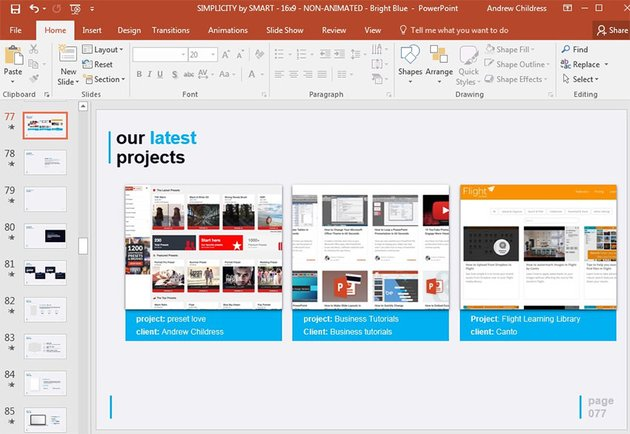Simple PowerPoint template customized with project images