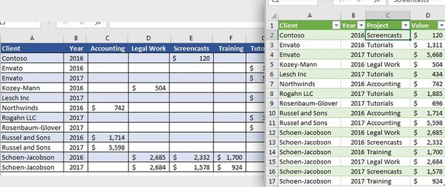 Converting columns to Rows in Microsoft Excel