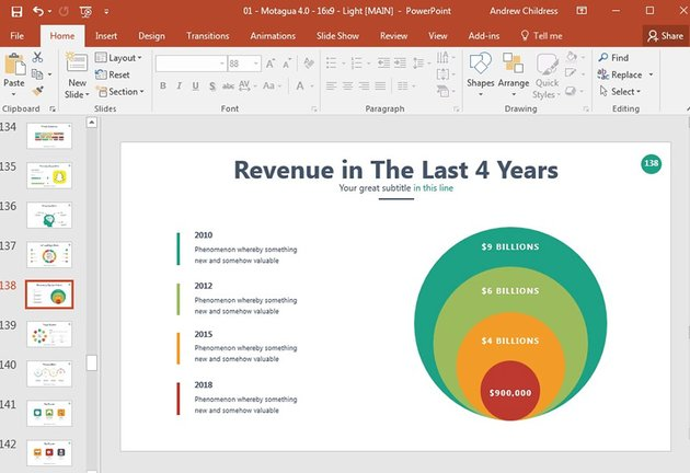 Overlapping circles in professional PPT presentation template