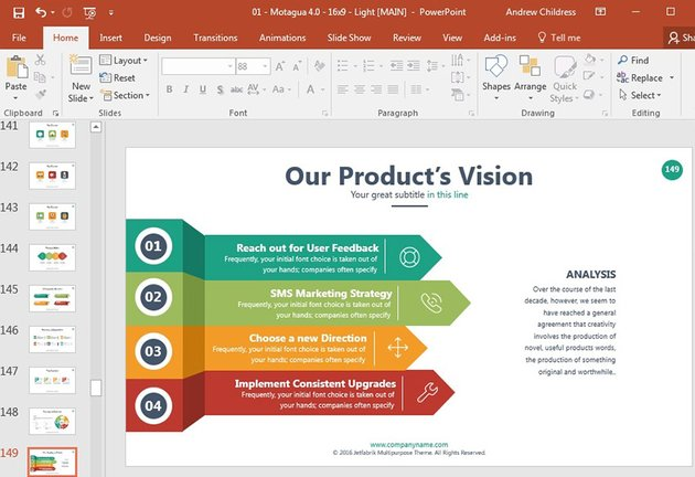 Product Vision slide design in PowerPoint template