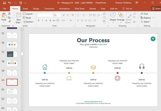 Timeline slide in PowerPoint template