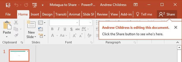 Alert on editing PowerPoint file