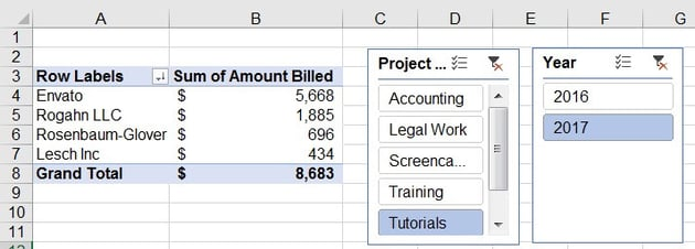 Sliced data in Excel