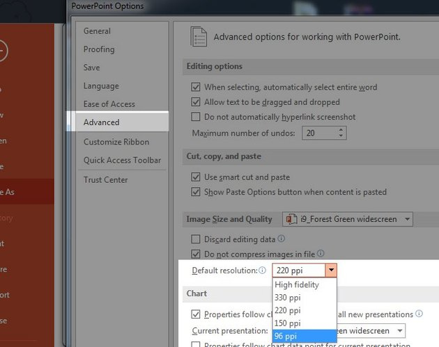 Resolution of PowerPoint Presentation file