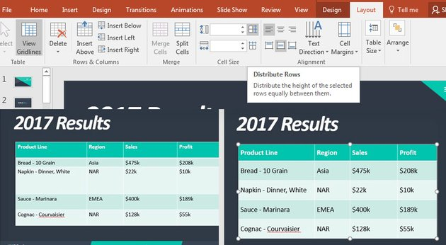 Distribute Rows PowerPoint