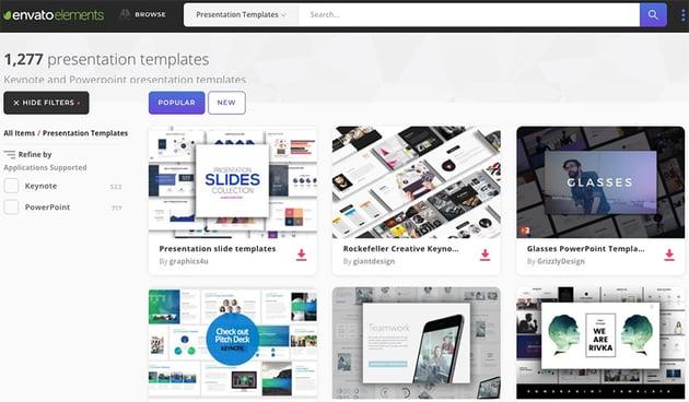 Envato Elements - PowerPoint Presentation Popular Section