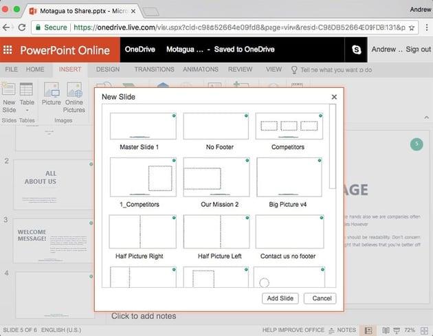 PowerPoint Online Insert Slide