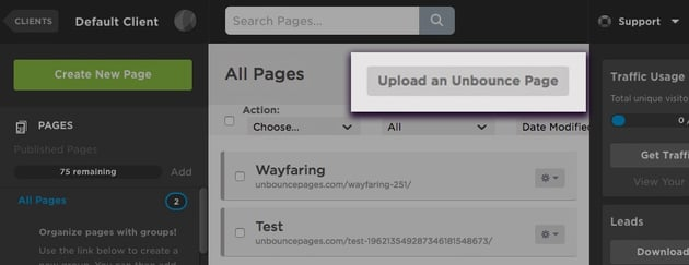 Click Upload an Unbouce Page