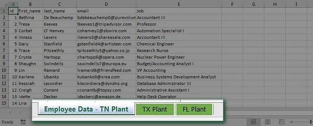 Sheets in Excel workbook