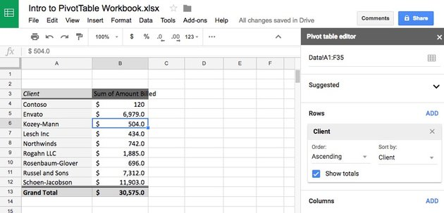 Pivot in Sheets from Excel