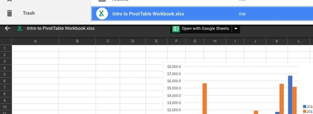 Preview of Excel Spreadsheets