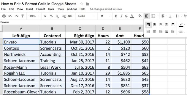 Format Google Spreadsheet--Border Examples