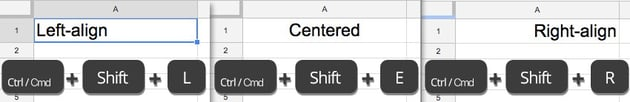 Cell alignment shortcuts