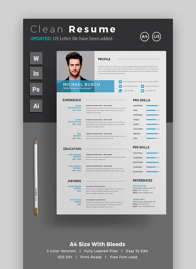 themedevisers clean resume template