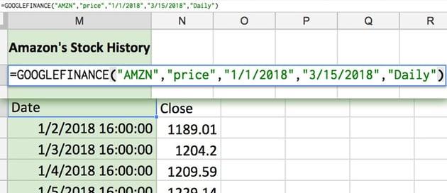 Google Finance function example