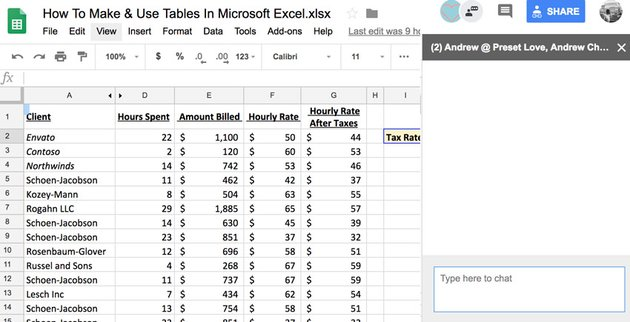 Chat Windows Sheet Example