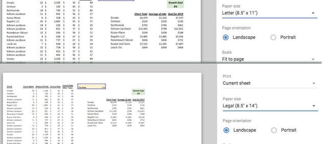 Standard versus Legal Paper Sizes
