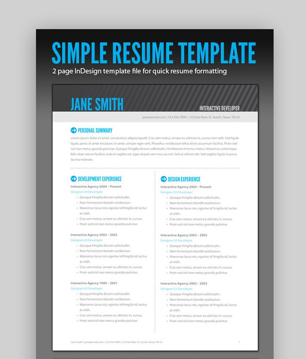 Simple Resume inDesign Template