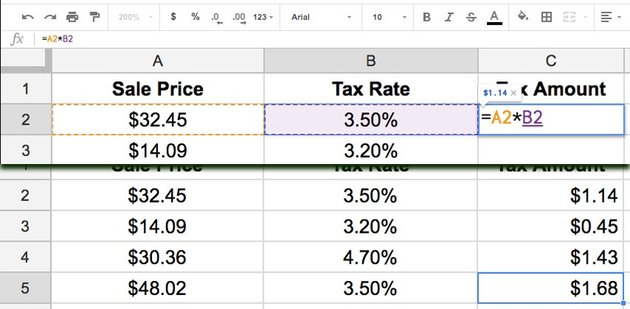 Sales price with tax example
