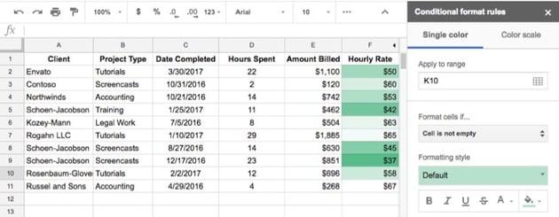 Google Sheets Custom Formatting