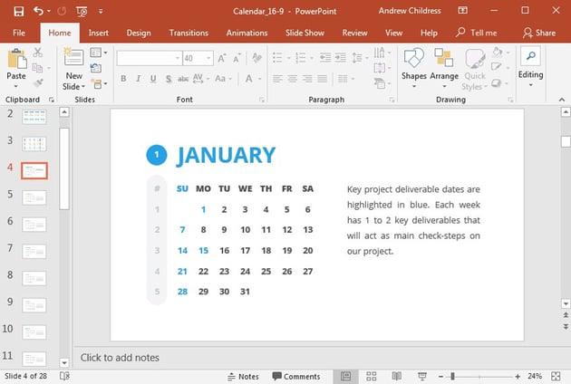 Light color Key Dates each month PowerPoint