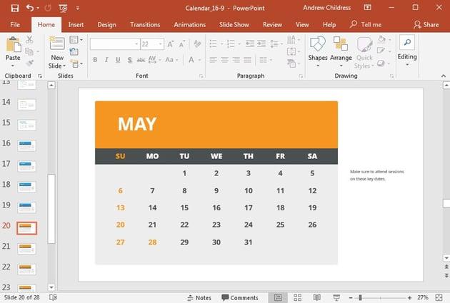 Alternate Style PowerPoint single month calendar