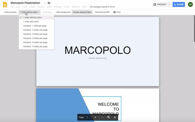 Choose number of slides to print