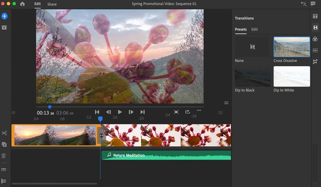 Added Transitions in Adobe Rush