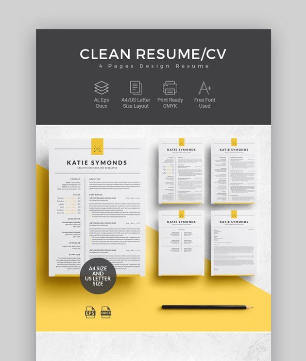 Professional Resume Template - 4 Pages