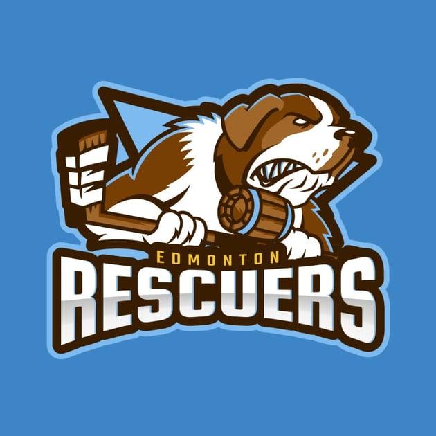 Hockey Logo Template with Dog Mascot