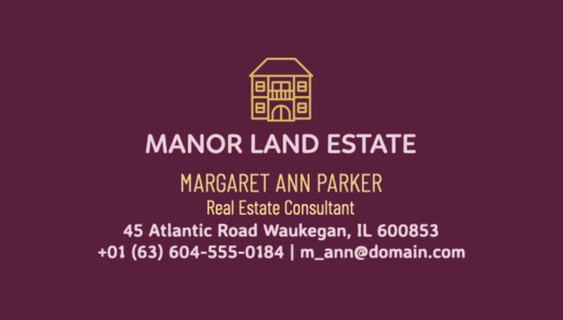 Real Estate Consultant Business Card