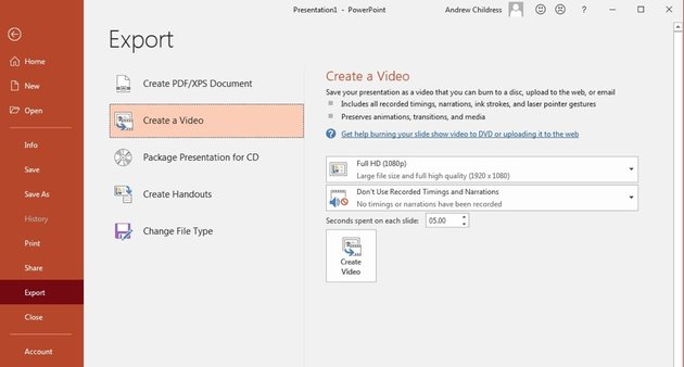 File Export Create a video