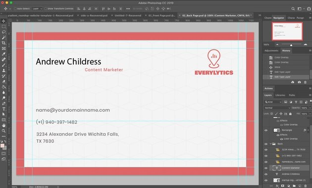 Backside Business card Photoshop template