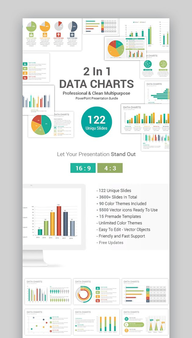 2 in 1 Data Charts PowerPoint Template