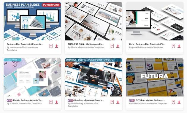 Envato Elements business plan PowerPoint templates