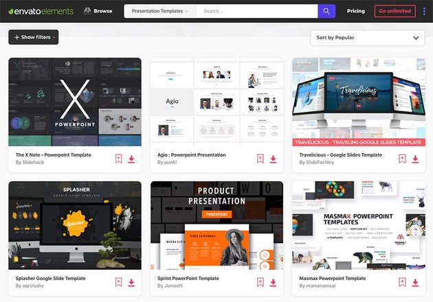 Envato Elements category screen