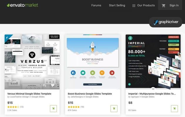 Custom Google Slides themes on Envato Market