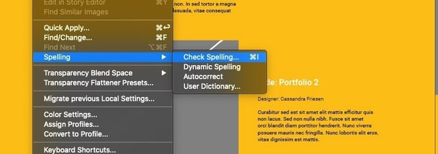 Check Spelling in InDesign