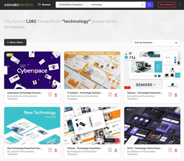 Envato Elements PowerPoint about technology